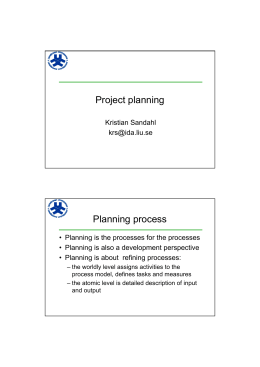 Project planning Planning process