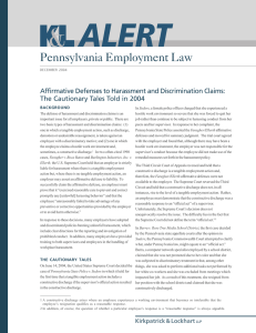 Pennsylvania Employment Law Affirmative Defenses to Harassment and Discrimination Claims: BACKGROUND