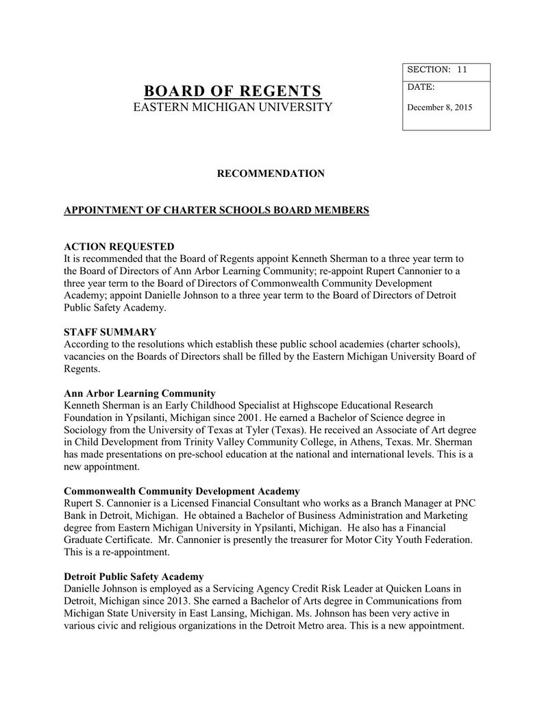 Board Of Regents Eastern Michigan University