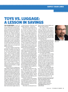 Toys Vs. luggage: a lesson in saVings supply chain links