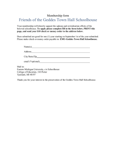Friends of the Geddes Town Hall Schoolhouse Membership form