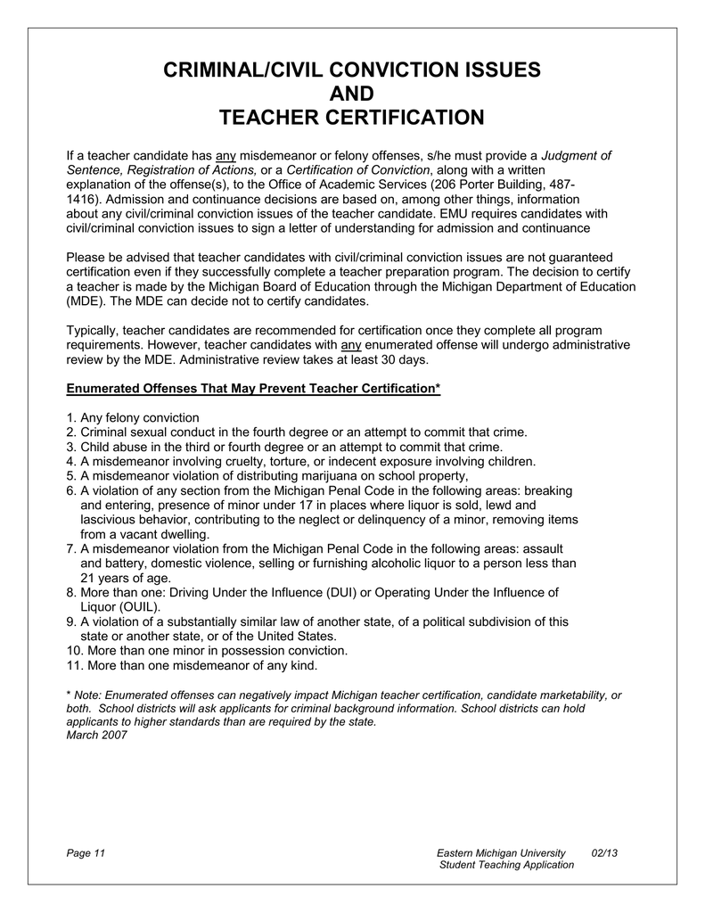 Criminalcivil Conviction Issues And Teacher Certification