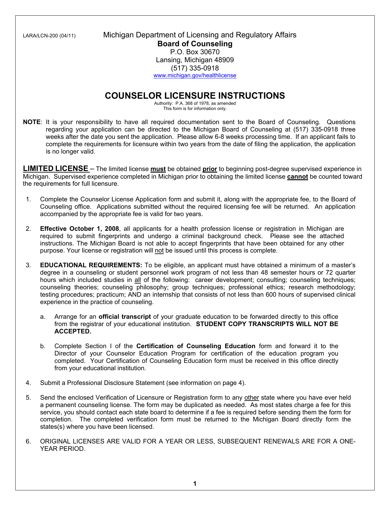COUNSELOR LICENSURE INSTRUCTIONS Michigan Department of