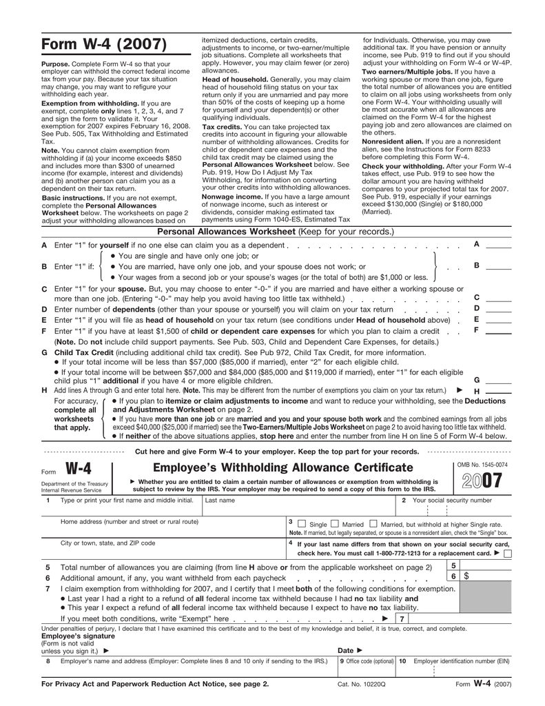 Form W4 2007 – W4 Deductions and Adjustments Worksheet