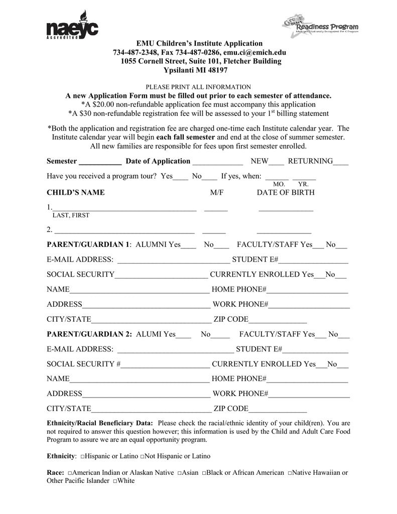 Emu Calendar.Emu Children S Institute Application 734 487 2348 Fax 734 487 0286