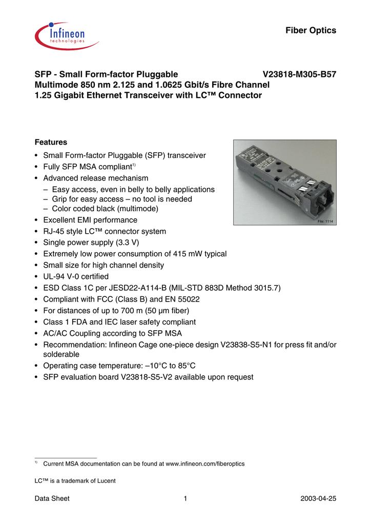 Fiber Optics SFP - Small Form-factor Pluggable V23818-M305-B57