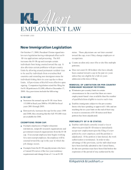 A lert EMPLOYMENT LAW New Immigration Legislation