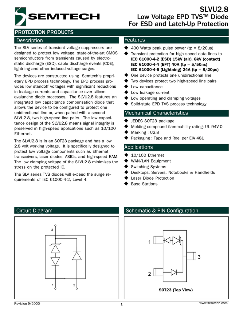 Slvu28 Low Voltage Epd Tvs Diode For Esd And Latch Up Protection Latching Circuits Schematic Picture Products