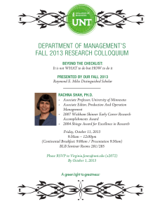 DEPARTMENT OF MANAGEMENT'S FALL 2013 RESEARCH COLLOQUIUM