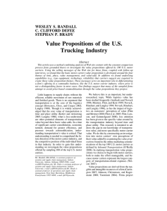 Value Propositions of the U.S. Trucking Industry WESLEY S. RANDALL C. CLIFFORD DEFEE