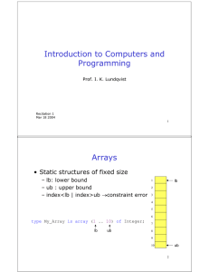 Introduction to Computers and Programming Arrays • Static structures of fixed size