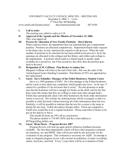 UNIVERSITY FACULTY COUNCIL MINUTES – MEETING SIX 5 Floor Rec IM Building