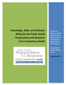 Knowledge, Skills, and Attitudes (KSAs) for the Public Health Preparedness and Response