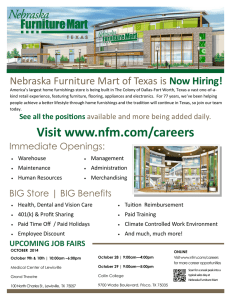 Nebraska Furniture Mart of Texas is Now Hiring!