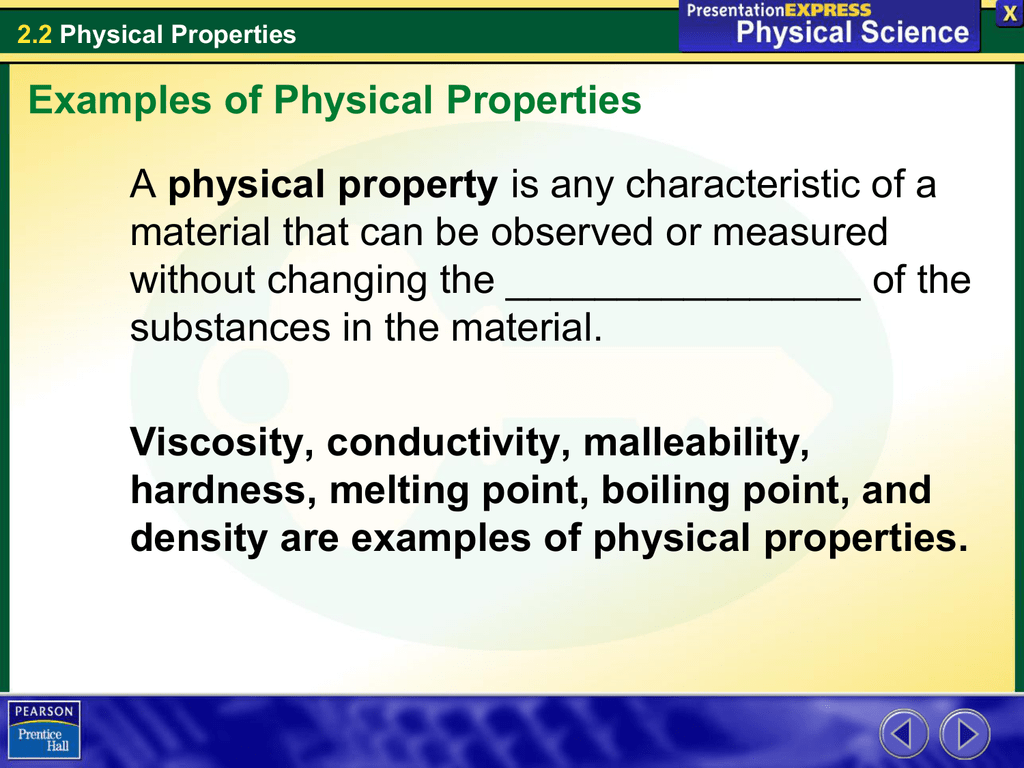 Physical Property Material That Can Be Observed Or Measured
