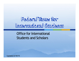 Federal Taxes for International Students Office for International Students and Scholars