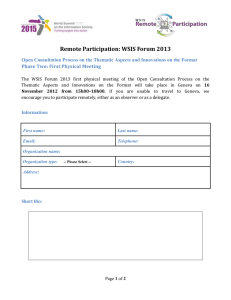 Remote Participation: WSIS Forum 2013