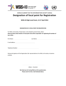 Designation of focal point for Registration
