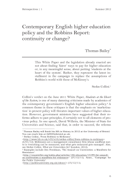 Contemporary English higher education policy and the Robbins Report: continuity or change?
