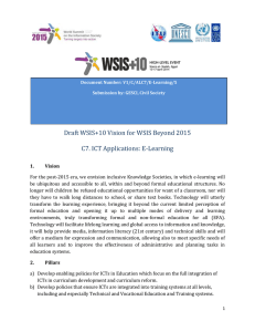 Draft WSIS+10 Vision for WSIS Beyond 2015 C7. ICT Applications: E-Learning