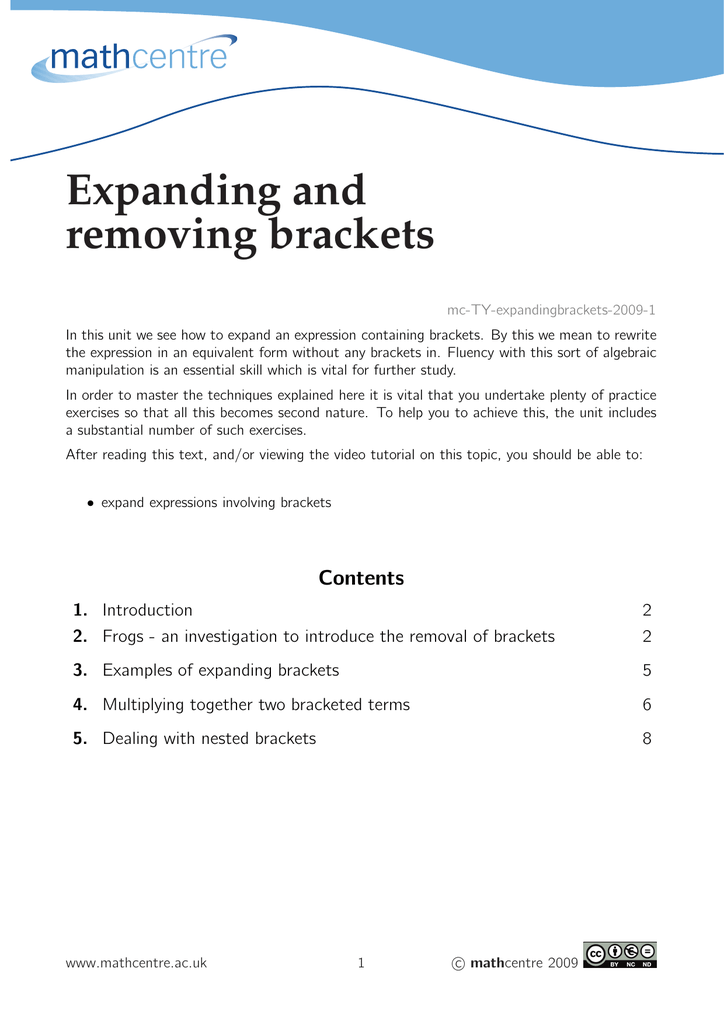Expanding and removing brackets