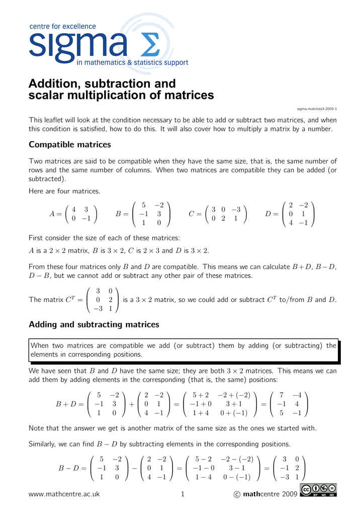 Algebra 2 Adding And Subtracting Matrices Worksheet matrix – Algebra Addition and Subtraction Worksheets
