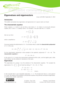 mathcentre community project Eigenvalues and eigenvectors community project