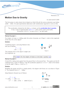 Motion Due to Gravity
