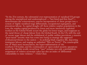 """In the 21st century, the substantial over-representation of  racialised US groups"