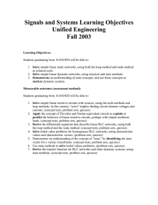 Signals and Systems Learning Objectives Unified Engineering Fall 2003