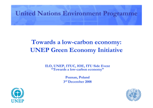 United Nations Environment Programme Towards a low-carbon economy: UNEP Green Economy Initiative