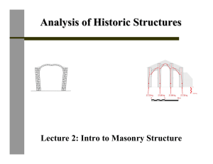 Analysis of Historic Structures Lecture 2: Intro to Masonry Structure
