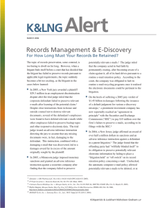 Alert K&LNG Records Management & E-Discovery