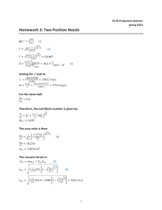 Homework 3: Two-Position Nozzle  a) Solving for