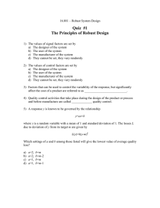 Quiz  #1 The Principles of Robust Design