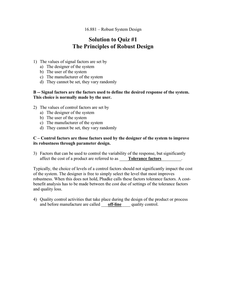 Strange Solution To Quiz 1 The Principles Of Robust Design Interior Design Ideas Clesiryabchikinfo