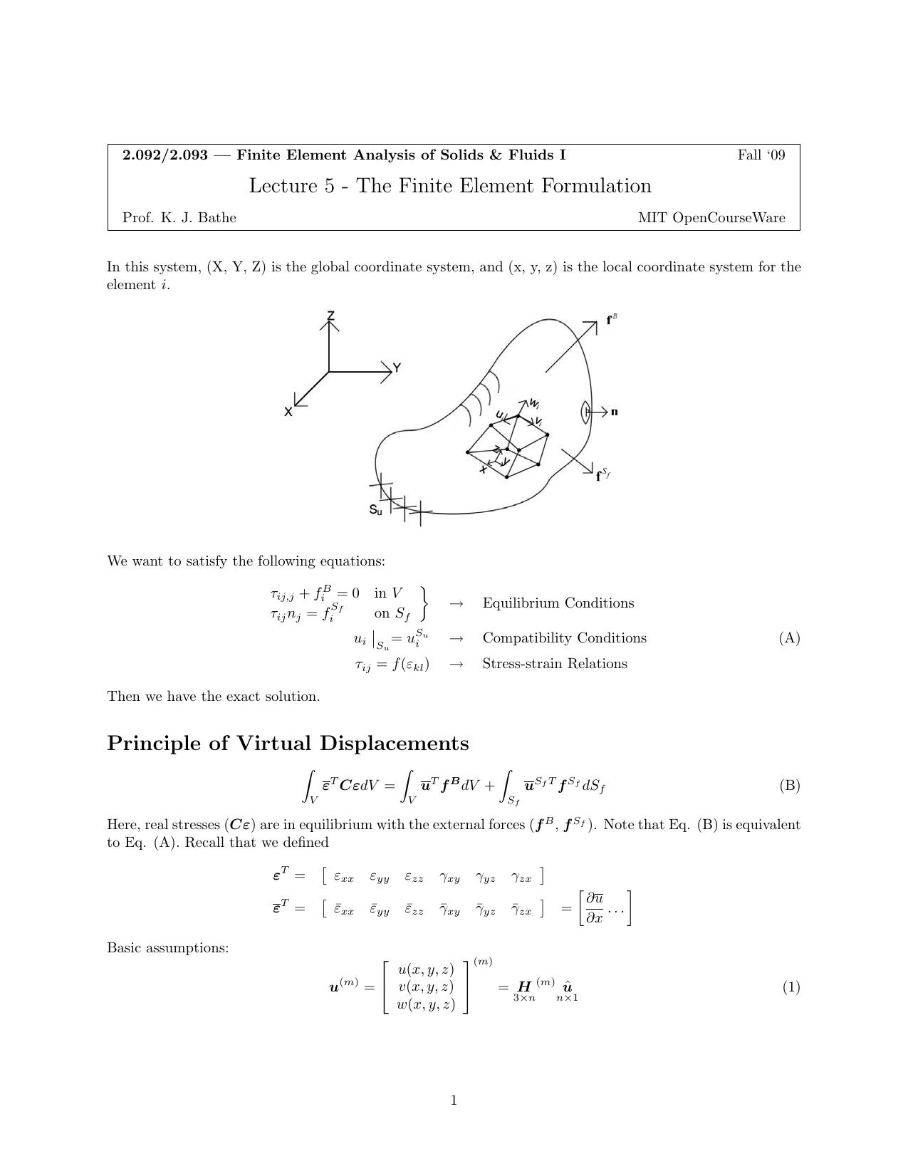 Lecture 5 - The Finite Element Formulation