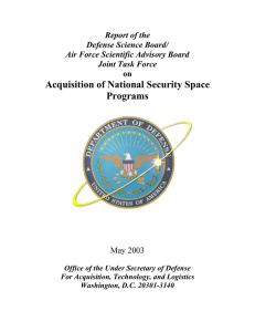 Acquisition of National Security Space Programs Report of the Defense Science Board/