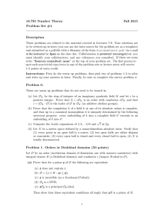 18.785 Number Theory Fall 2015 Problem Set #4 Description
