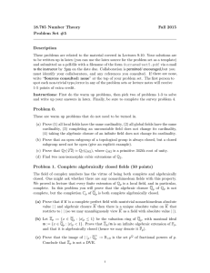 18.785 Number Theory Fall 2015 Problem Set #5 Description