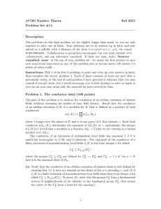 18.785 Number Theory Fall 2015 Problem Set #11 Description