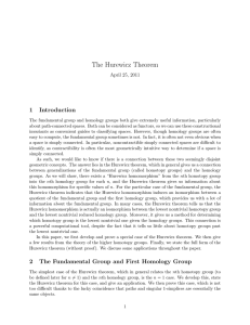 The Hurewicz Theorem 1 Introduction April 25, 2011