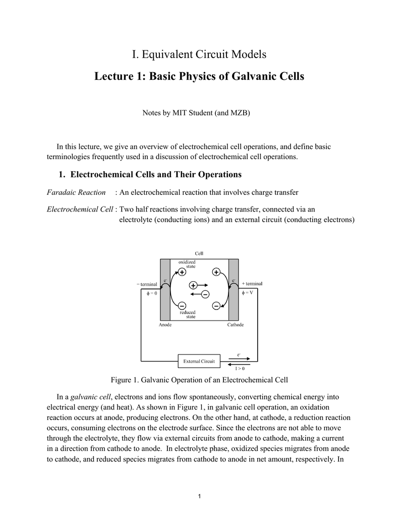 worksheet Electrochemical Cell Worksheet i equivalent circuit models lecture 1 basic physics of galvanic cells