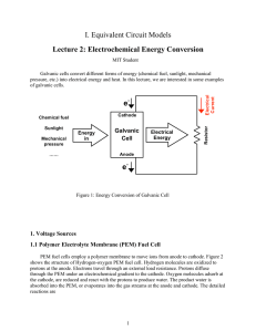 I. Equivalent Circuit Models Lecture 2: Electrochemical Energy Conversion