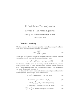 II. Equilibrium Thermodynamics Lecture 8:  The Nernst Equation