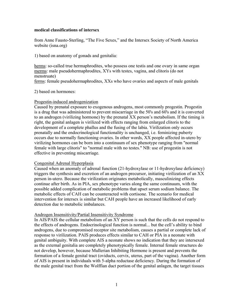 medical classifications of intersex website (isna.org)