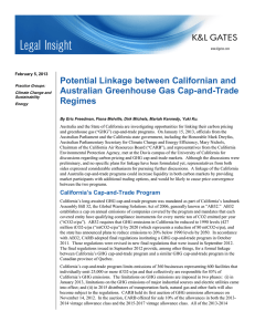 Potential Linkage between Californian and Australian Greenhouse Gas Cap-and-Trade Regimes