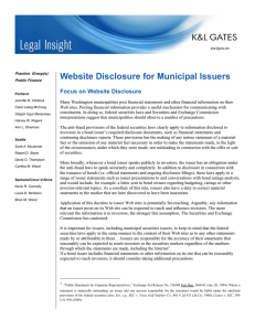 Website Disclosure for Municipal Issuers Focus on Website Disclosure