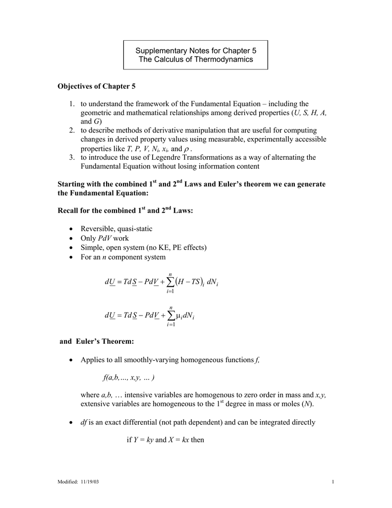 Supplementary Notes for Chapter 5 The Calculus of Thermodynamics