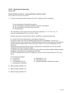 10.542 – Biochemical Engineering Spring 2005